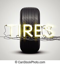 Realistic tires with neon sign, vector