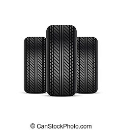 Realistic tires with shadow. Vector.