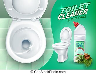 Realistic Toilet And Cleaner Gel Poster - Ad poster with...