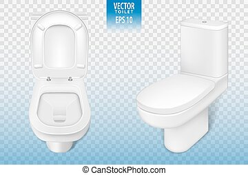 Realistic toilet mockup closeup, white modern toilet in 3d illustration isolated on transparent background. Vector