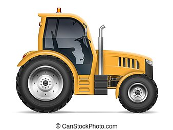 Realistic tractor side view vector illustration