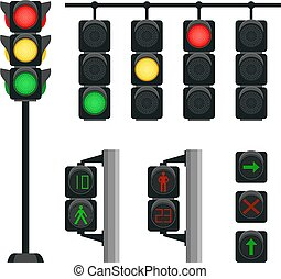Realistic traffic lights. Safety signals for driving ...