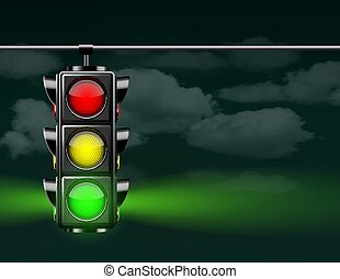 Realistic traffic lights with green lamp on, hanging in night sky.
