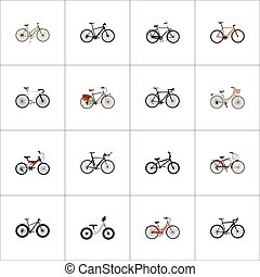 Realistic Training Vehicle, Extreme Biking, Timbered And Other Vector Elements. Set Of Bicycle Realistic Symbols Also Includes Extreme, Equilibrium, Cyclocross Objects.