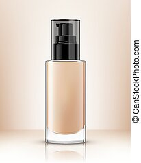 Realistic transparent bottle with pump for foundation cream. Vector illustration