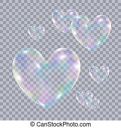 Realistic transparent colorful soap bubbles in form of the heart. Vector illustration.