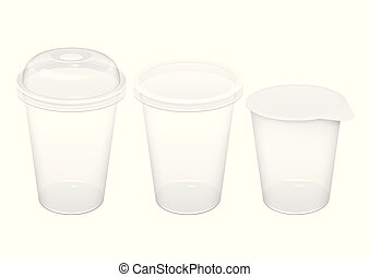 Realistic Transparent Disposable Plastic Cup With Lid. For...