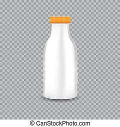 Realistic Transparent Plastic Bottle with a Milk. Vector illustration.