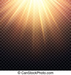 Realistic transparent yellow sun rays, warm orange flare effect isolated on checkered background