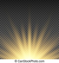 Realistic transparent yellow sun rays, warm orange flare effect isolated on checkered background. Sunshine from star, sunbeam bright illustration