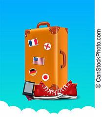 Realistic Traveler Luggae - Vintage Suitcase Illustration