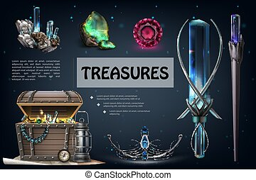 Realistic Treasures Colorful Composition