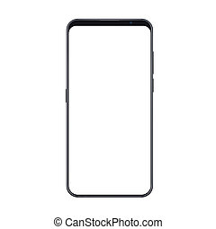 Realistic trendy smartphone mockup with thin frames and blank white screen isolated. Can be use for any user interface test or presentation