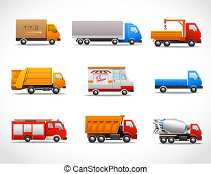 Realistic truck lorry transport van auto set isolated vector illustration