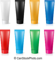 Realistic tubes for cream of different colors