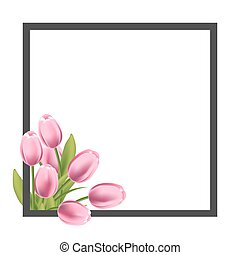 Realistic tulips flower frame. Blank template for text,...
