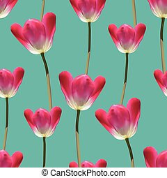 Realistic tulips vector seamless pattern