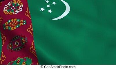 Realistic Turkmenistan flag waving in the wind. Seamless...