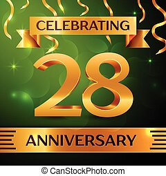 Realistic Twenty eight Years Anniversary Celebration Design. Confetti and gold ribbon on green background. Colorful Vector template elements for your birthday party. Anniversary ribbon