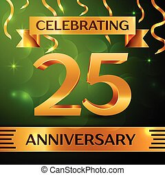 Realistic Twenty five Years Anniversary Celebration Design. Confetti and gold ribbon on green background. Colorful Vector template elements for your birthday party. Anniversary ribbon
