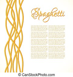 Realistic Twisted Spaghetti Pasta, vertical composition, vector illustration
