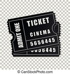 Realistic Two black cinema tickets isolated object on transparent background. Cinema, theater, concert, movie, performance, party, event festival ticket template. Admit one. Vector Illustration