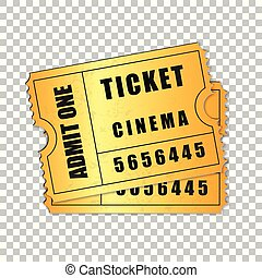 Realistic Two gold cinema tickets isolated object on transparent background. Cinema, theater, concert, movie, performance, party, event festival ticket template. Admit one. Vector Illustration