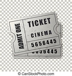 Realistic Two silver cinema tickets isolated object on transparent background. Cinema, theater, concert, movie, performance, party, event festival ticket template. Admit one. Vector Illustration