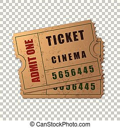 Realistic Two vintage cinema tickets isolated object on transparent background. Cinema, theater, concert, movie, performance, party, event festival ticket template. Admit one. Vector Illustration