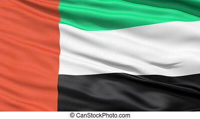 Realistic UAE flag in the wind - Realistic 3D detailed slow...