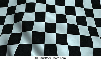 Realistic Ultra-HD checker flag waving in the wind. Seamless loop with highly detailed fabric texture