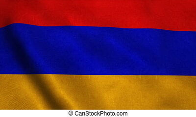Realistic Ultra-HD flag of the Armenia waving in the wind. Seamless loop with highly detailed fabric texture