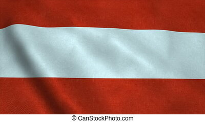 Realistic Ultra-HD flag of the Austria waving in the wind. Seamless loop with highly detailed fabric texture