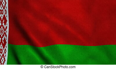 Realistic Ultra-HD flag of the Belarussia waving in the wind. Seamless loop with highly detailed fabric texture