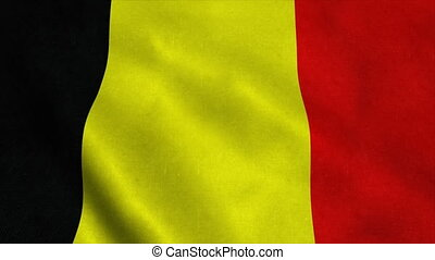 Realistic Ultra-HD flag of the Belgium waving in the wind. Seamless loop with highly detailed fabric texture