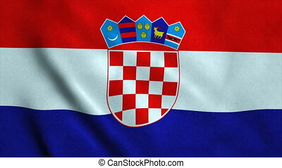 Realistic Ultra-HD flag of the Croatia waving in the wind. Seamless loop with highly detailed fabric texture