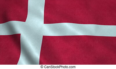Realistic Ultra-HD flag of the Denmark waving in the wind. Seamless loop with highly detailed fabric texture