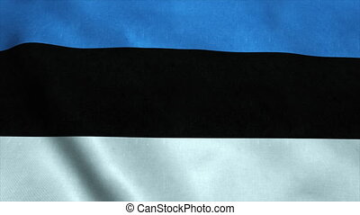 Realistic Ultra-HD flag of the Estonia waving in the wind. Seamless loop with highly detailed fabric texture