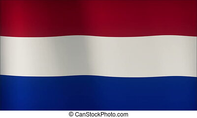 Realistic Ultra-HD flag of the Netherlands waving in the wind. Seamless loop with highly detailed fabric texture.