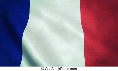 Realistic Ultra-HD flag of the France waving in the wind. Seamless loop with highly detailed fabric texture