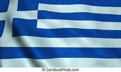 Realistic Ultra-HD flag of the Greece waving in the wind. Seamless loop with highly detailed fabric texture