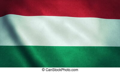Realistic Ultra-HD flag of the Hungary waving in the wind. Seamless loop with highly detailed fabric texture