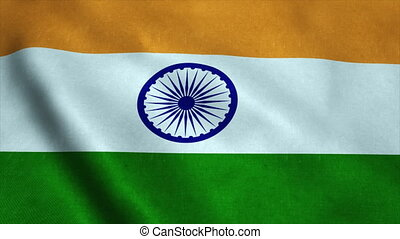Realistic Ultra-HD flag of the India waving in the wind. Seamless loop with highly detailed fabric texture