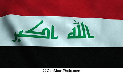 Realistic Ultra-HD flag of the Iraq waving in the wind. Seamless loop with highly detailed fabric texture