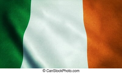 Realistic Ultra-HD flag of the Ireland waving in the wind. Seamless loop with highly detailed fabric texture
