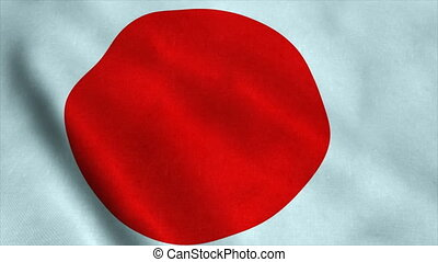 Realistic Ultra-HD flag of the Japan waving in the wind. Seamless loop with highly detailed fabric texture