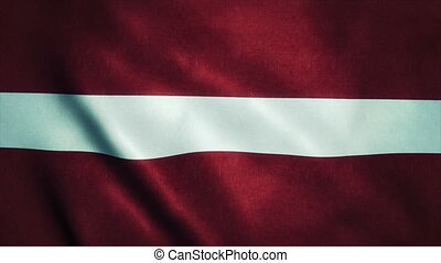 Realistic Ultra-HD flag of the Latvia waving in the wind. Seamless loop with highly detailed fabric texture