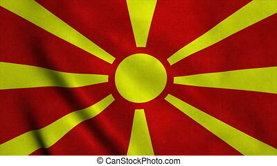 Realistic Ultra-HD flag of the Macedonia waving in the wind. Seamless loop with highly detailed fabric texture