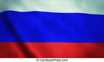 Realistic Ultra-HD flag of the Russia waving in the wind. Seamless loop with highly detailed fabric texture