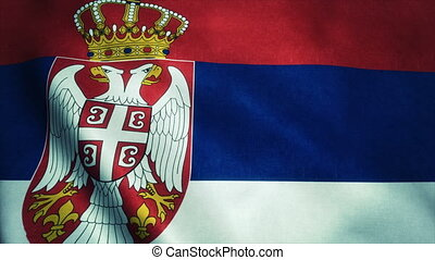 Realistic Ultra-HD flag of the Serbia waving in the wind. Seamless loop with highly detailed fabric texture